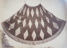 Photograph of the 'Famous feather cloak' ('Ahu'ula). Collection Hastings Library.